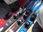 a selection of slalom skis in the boat.
