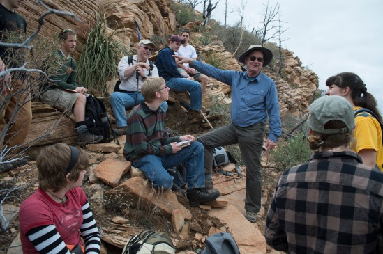 Before our assent to the top of Brins Ridge, Dr. John Whitmore & Dr. Steve Austin take an opportunity to talk with students.