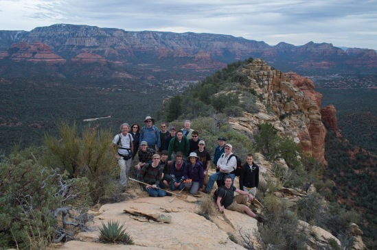 Large group shot at the top of Brins Ridge with the group of Loma Linda University  Cedarville University.