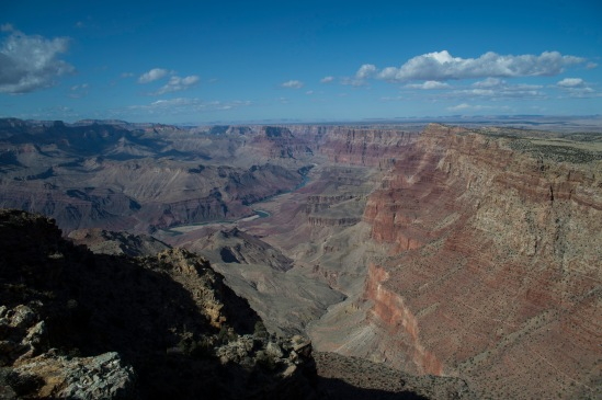 Looking down into the Grand Canyon with the Colorado River in the distance.