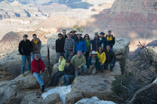 Group photo at Grandview Point with the Grand Canyon in the background.