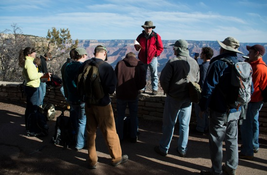 Before taking the shuttle to Hermits Rest, Dr. John Whitmore instructs the students what to be looking for while hiking down the Hermit Trail.