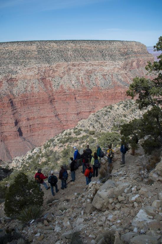 Steep terrain on our walk down the trail.