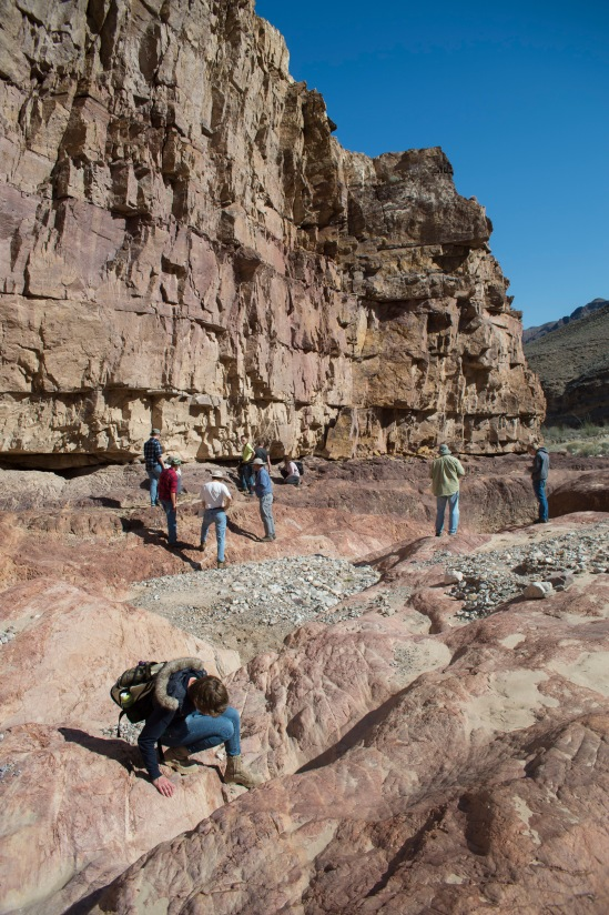 Students walking around near the Great Unconformity.