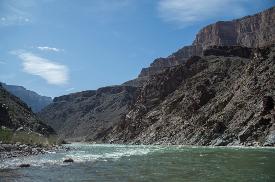Rapids on the Colorado River with Diamond Creek dumping in on the left.