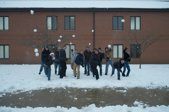 It's never a good idea to be in direct line of 12 guys throwing snowballs!
