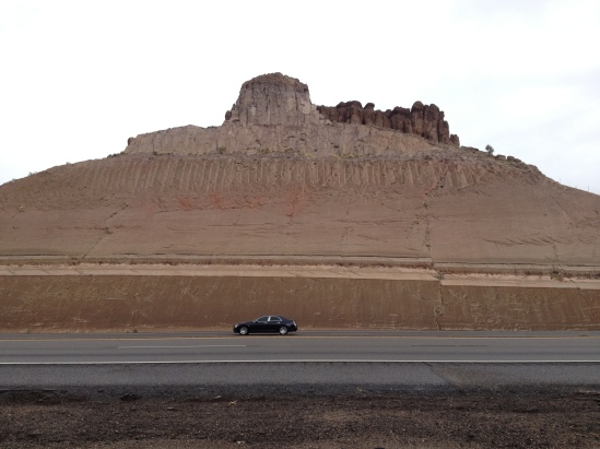 A road cut right outside of Kingman, AZ with a fault going through it.