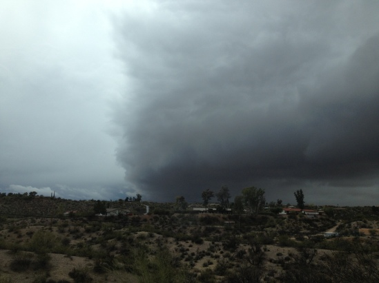 As we drive towards Phoenix, you can see the large storm in the distance.