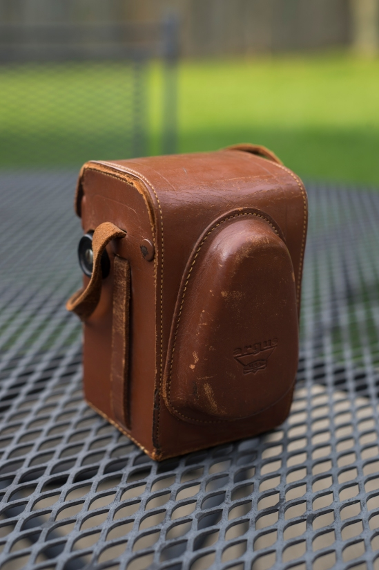 Ansco brown leather case.