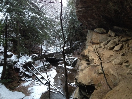 Old Man's Cave on the right protected from the snow.