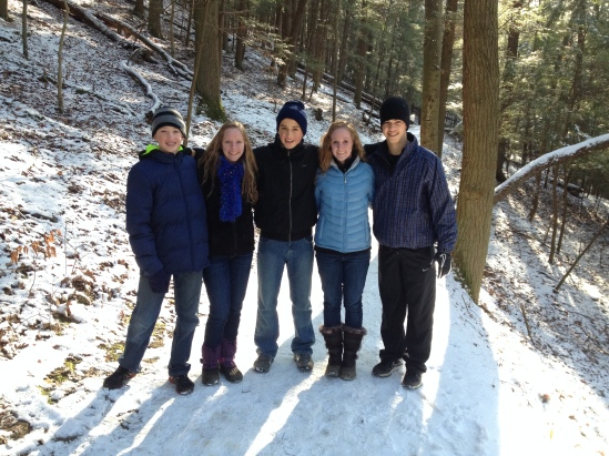 The cousins on our walk on the upper path of Ash Cave.