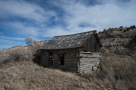 We stopped outside of Duchesne, Utah on US 191. while Dr. Whitmore & students took a look at the oil shale deposits on one side of the road, I took some pictures of an abandoned cabin on the other side of the road.