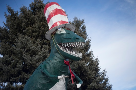 In Vernal, Utah there are all kinds of dinosaurs around town.