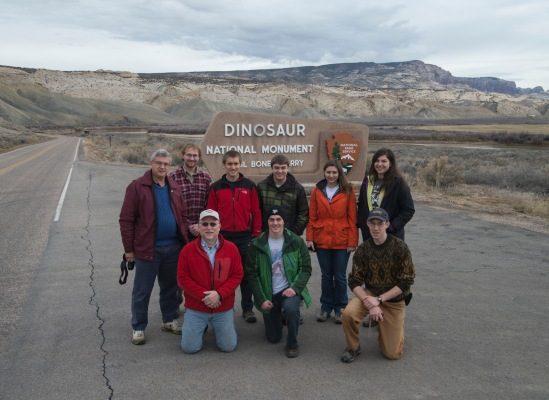 After a short drive from Vernal, Utah where we stayed the night, we stopped at the entrance of Dinosaur National Monument for a group picture.