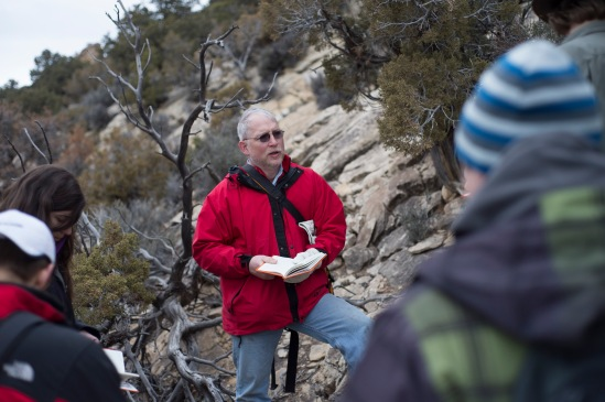 After spending the morning at the DNM, we moved on into Colorado. Dr. Whitmore reviews with the students on measuring the thickness of rock formations.