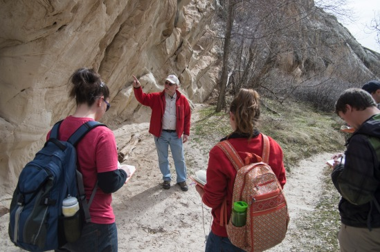 Dr. Whitmore wanted the students to see the great cross bedding & sediment deformation in the Bow Canyon and how that's important to what they've been studying this week.