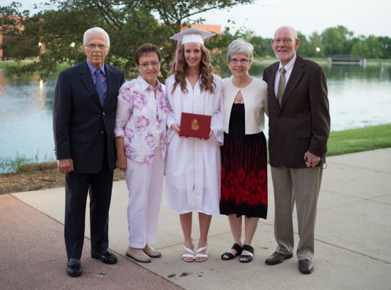 Gma & Gpa Nolt & Gma & Gpa Huck with Abby after graduation.