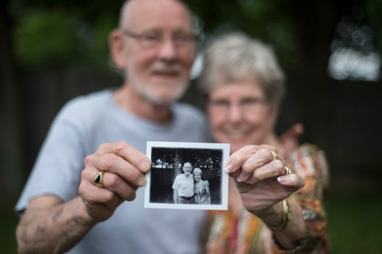 Polaroid portrait of my parents shot with a Polaroid 420 on Fujifilm FP3000b film.