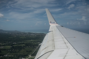 Thank you American Airlines for a safe flight. Getting ready to land, welcome to the DR.