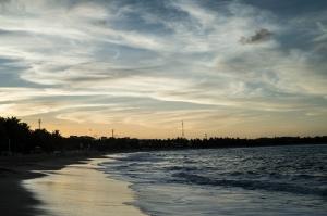 The sun setting at Cabarete Beach.