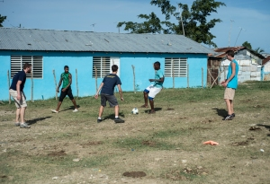 We played soccer with the guys in Chichiqua. You can see the barbed wire fence in the background.