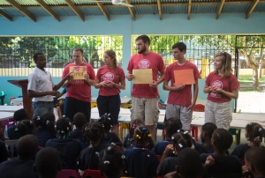 Cakito is the Makarios chaplain.  Several of the team members took part in chapel with the children.