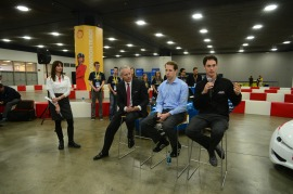 Joey Logano spoke during the press conference siting the similarity & need to conserve in fuel economy with both NASCAR vehicles and Cedarville's urban concept car.