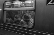 Taking a break in the NYC subway. This image looks timeless.
