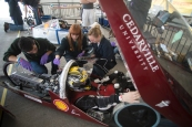 The Shell tech team depressurize the air pressure system in preparation of the vehicle taking a run around the course.